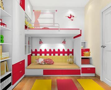 采用榻榻米形式,把 儿童双人床分为上下两张,非常合理地利用房间的