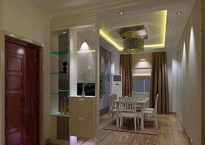 这款玄关设计图,利用玄关的设计,把进门处与饭厅进行隔断.