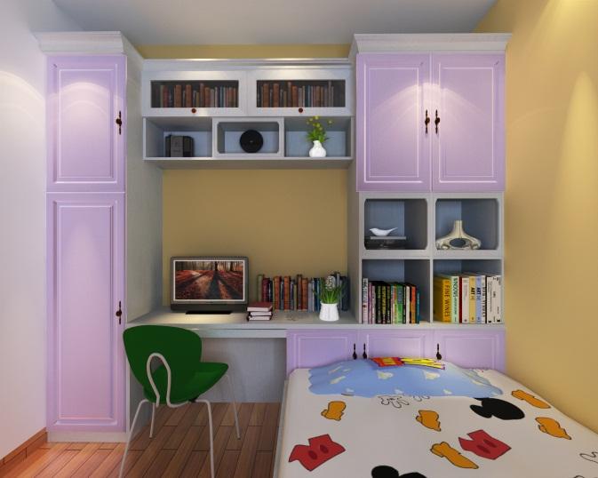 依照柜子宽度,向角落沿墙两侧方向伸展,一侧设计成一个收纳、陈列柜,另一侧可设计成一 个一体化书桌柜,集收纳、陈列、阅读于一体。由于墙面空间的充分利用,地面空间得到了极 大解放,做成儿童房,既是阅读小天地,也是玩耍小天地,作为挖掘孩子的想象力的空间,再 合适不过。