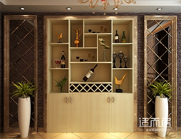 嵌入式欧式酒柜图片